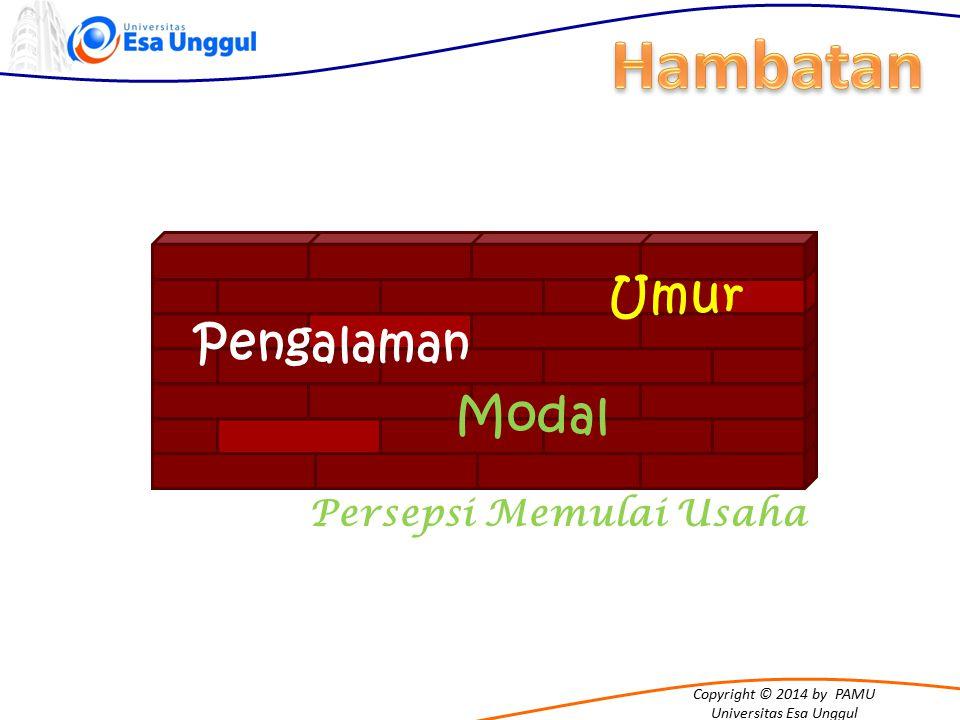 Copyright © 2014 by PAMU Universitas Esa Unggul Persepsi Memulai Usaha Umur Pengalaman Modal