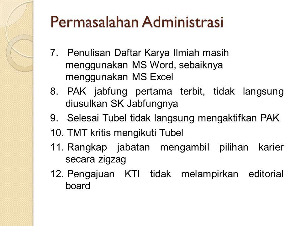 Permasalahan Administrasi 7.Penulisan Daftar Karya Ilmiah masih menggunakan MS Word, sebaiknya menggunakan MS Excel 8.PAK jabfung pertama terbit, tida