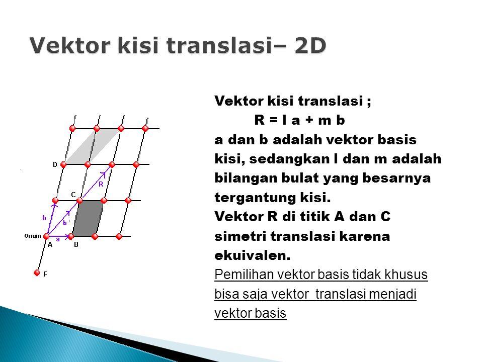 Vektor kisi translasi ; R = l a + m b a dan b adalah vektor basis kisi, sedangkan l dan m adalah bilangan bulat yang besarnya tergantung kisi.