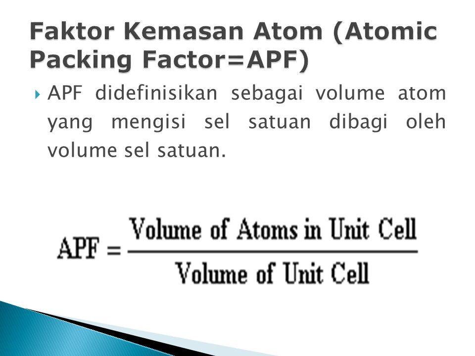  APF didefinisikan sebagai volume atom yang mengisi sel satuan dibagi oleh volume sel satuan.