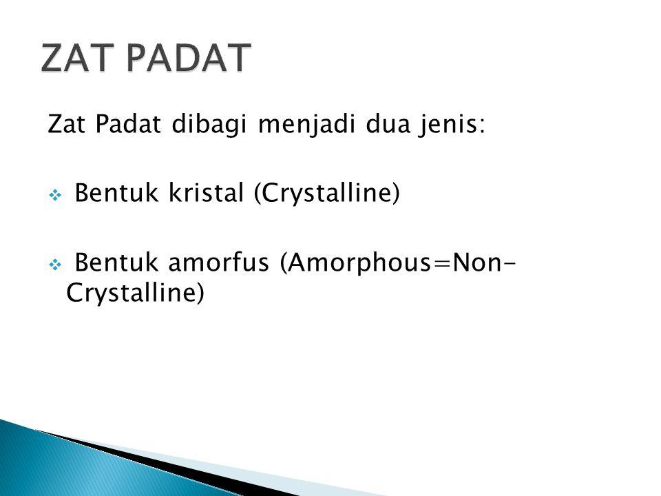 Kristal adalah materi padat yang mempunyai susunan atom, molekul, atau ion secara teratur pada seluruh ruang tiga dimensi.