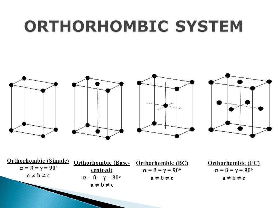 Orthorhombic (Simple)  = ß =  = 90 o a  b  c Orthorhombic (Base- centred)  = ß =  = 90 o a  b  c Orthorhombic (BC)  = ß =  = 90 o a  b  c Orthorhombic (FC)  = ß =  = 90 o a  b  c