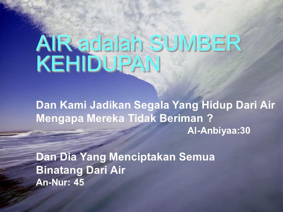 1 AIR adalah SUMBER KEHIDUPAN Dan Kami Jadikan Segala Yang Hidup Dari Air Mengapa Mereka Tidak Beriman ? Al-Anbiyaa:30 Dan Dia Yang Menciptakan Semua
