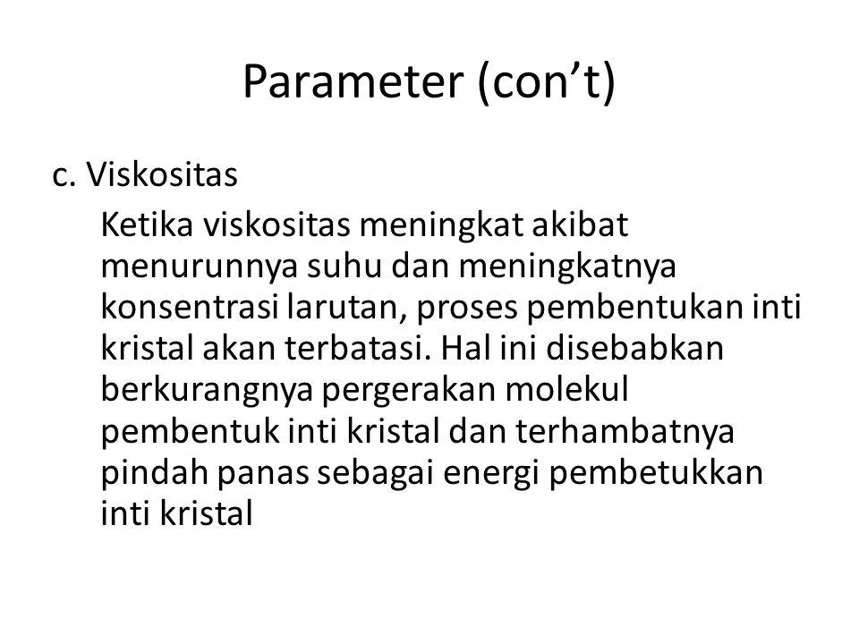 Parameter (con't) c. Viskositas Ketika viskositas meningkat akibat menurunnya suhu dan meningkatnya konsentrasi larutan, proses pembentukan inti krist