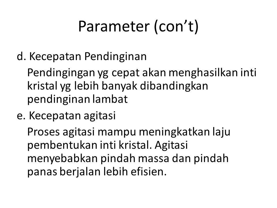 Parameter (con't) d. Kecepatan Pendinginan Pendingingan yg cepat akan menghasilkan inti kristal yg lebih banyak dibandingkan pendinginan lambat e. Kec