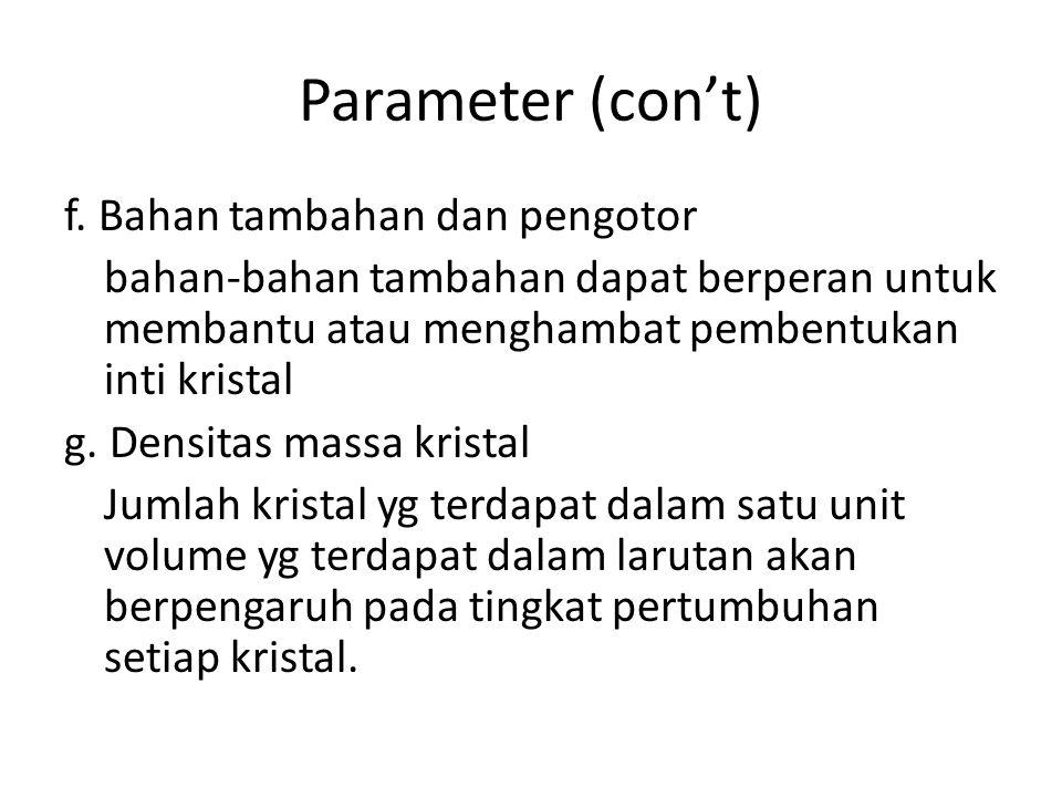 Parameter (con't) f. Bahan tambahan dan pengotor bahan-bahan tambahan dapat berperan untuk membantu atau menghambat pembentukan inti kristal g. Densit