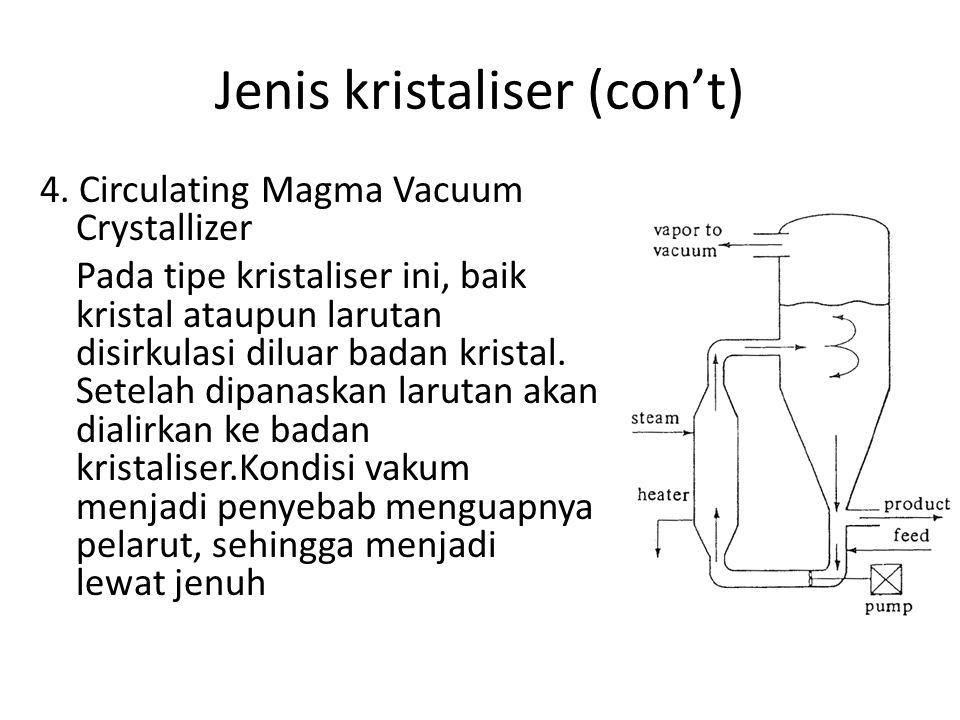 Jenis kristaliser (con't) 4. Circulating Magma Vacuum Crystallizer Pada tipe kristaliser ini, baik kristal ataupun larutan disirkulasi diluar badan kr