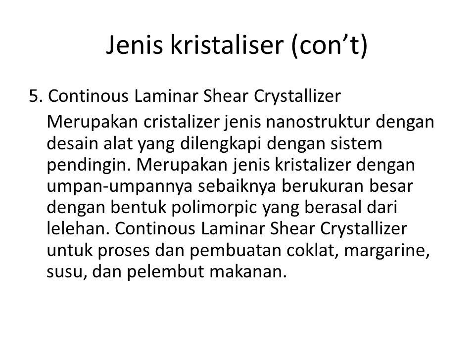 Jenis kristaliser (con't) 5. Continous Laminar Shear Crystallizer Merupakan cristalizer jenis nanostruktur dengan desain alat yang dilengkapi dengan s