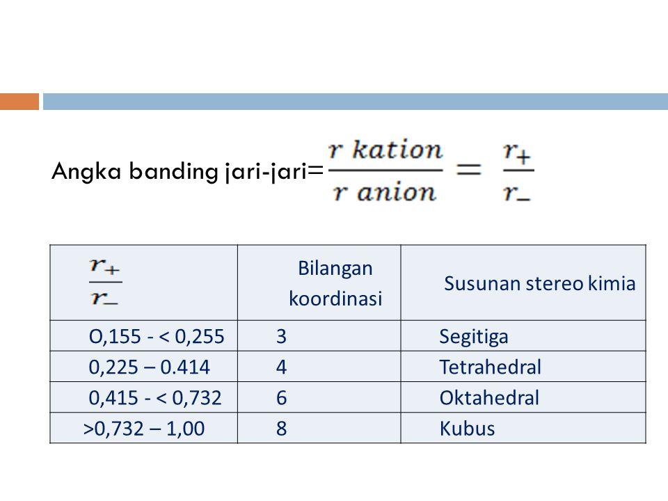 Angka banding jari-jari= Bilangan koordinasi Susunan stereo kimia O,155 - < 0,2553Segitiga 0,225 – 0.4144Tetrahedral 0,415 - < 0,7326Oktahedral >0,732