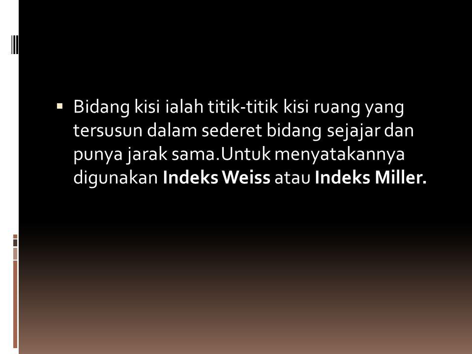  Bidang kisi ialah titik-titik kisi ruang yang tersusun dalam sederet bidang sejajar dan punya jarak sama.Untuk menyatakannya digunakan Indeks Weiss