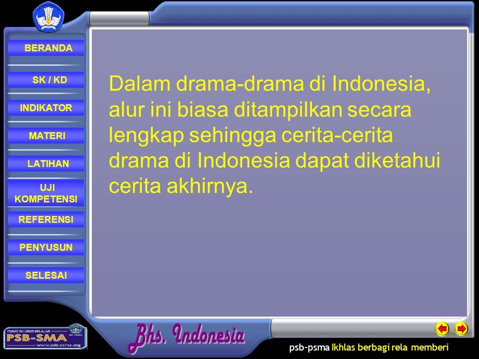 psb-psma Ikhlas berbagi rela memberi REFERENSI LATIHAN MATERI PENYUSUN INDIKATOR SK / KD UJI KOMPETENSI BERANDA SELESAI Dalam drama-drama di Indonesia