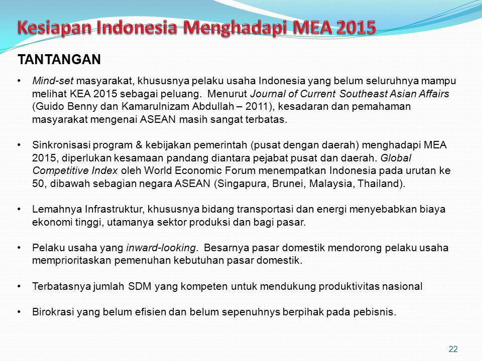 TANTANGAN Mind-set masyarakat, khususnya pelaku usaha Indonesia yang belum seluruhnya mampu melihat KEA 2015 sebagai peluang. Menurut Journal of Curre