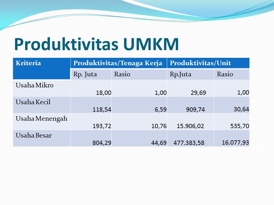 Produktivitas UMKM KriteriaProduktivitas/Tenaga KerjaProduktivitas/Unit Rp. JutaRasioRp.JutaRasio Usaha Mikro 18,00 1,00 29,69 1,00 Usaha Kecil 118,54