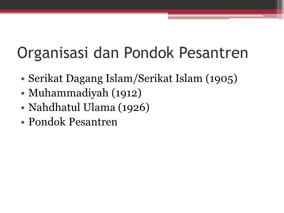 Organisasi dan Pondok Pesantren Serikat Dagang Islam/Serikat Islam (1905) Muhammadiyah (1912) Nahdhatul Ulama (1926) Pondok Pesantren