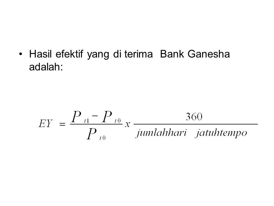 Hasil efektif yang di terima Bank Ganesha adalah: