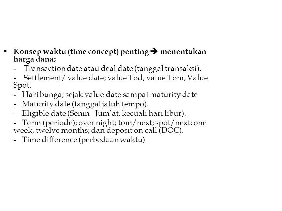 Konsep waktu (time concept) penting  menentukan harga dana; - Transaction date atau deal date (tanggal transaksi). - Settlement/ value date; value To