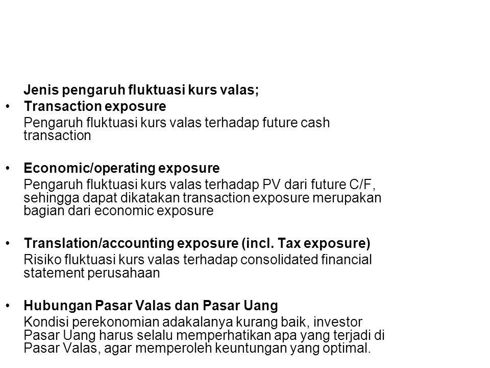 Jenis pengaruh fluktuasi kurs valas; Transaction exposure Pengaruh fluktuasi kurs valas terhadap future cash transaction Economic/operating exposure P