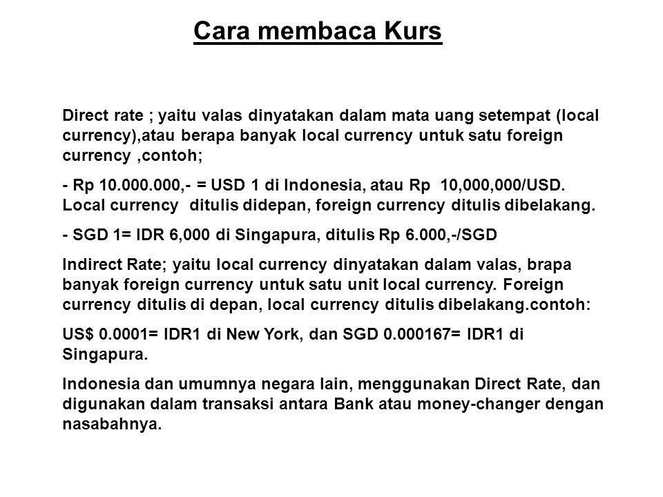 Cara membaca Kurs Direct rate ; yaitu valas dinyatakan dalam mata uang setempat (local currency),atau berapa banyak local currency untuk satu foreign