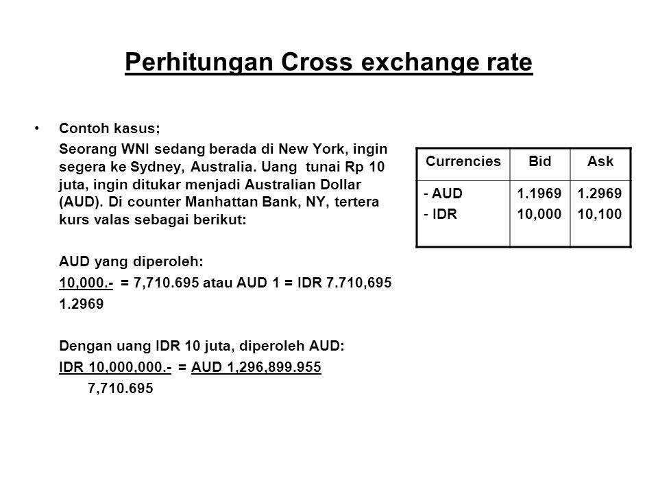 Perhitungan Cross exchange rate Contoh kasus; Seorang WNI sedang berada di New York, ingin segera ke Sydney, Australia. Uang tunai Rp 10 juta, ingin d