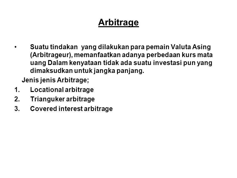 Arbitrage Suatu tindakan yang dilakukan para pemain Valuta Asing (Arbitrageur), memanfaatkan adanya perbedaan kurs mata uang Dalam kenyataan tidak ada