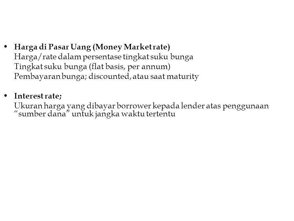 Harga di Pasar Uang (Money Market rate) Harga/rate dalam persentase tingkat suku bunga Tingkat suku bunga (flat basis, per annum) Pembayaran bunga; di