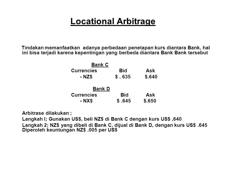 Locational Arbitrage Tindakan memanfaatkan adanya perbedaan penetapan kurs diantara Bank, hal ini bisa terjadi karena kepentingan yang berbeda diantar