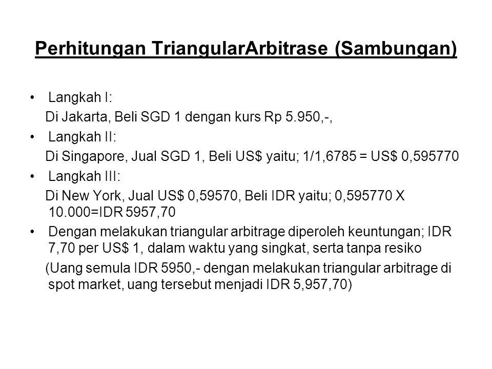 Perhitungan TriangularArbitrase (Sambungan) Langkah I: Di Jakarta, Beli SGD 1 dengan kurs Rp 5.950,-, Langkah II: Di Singapore, Jual SGD 1, Beli US$ y