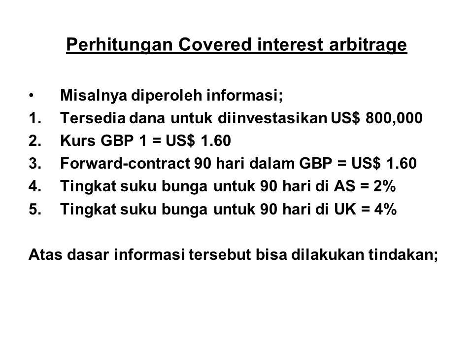 Perhitungan Covered interest arbitrage Misalnya diperoleh informasi; 1.Tersedia dana untuk diinvestasikan US$ 800,000 2.Kurs GBP 1 = US$ 1.60 3.Forwar