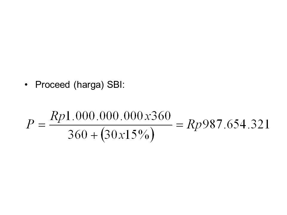 Jika pada hari yang sama Bank Ganesha menjual SBI tersebut kepada Bank lain, dengan persayaratan : - Penyelesaian transaksi = same day settelement - Discount rate = 14,5% - Days to maturity = 30 hari Proceed SBI =
