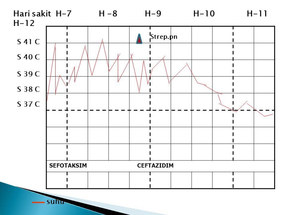 SEFOTAKSIM CEFTAZIDIM S 37 C suhu Hari sakit H-7 H -8 H-9 H-10 H-11 H-12 S 41 C S 40 C S 39 C S 38 C Strep.pn