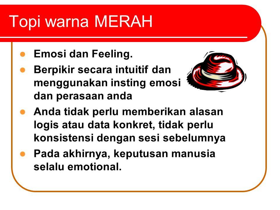 Topi warna MERAH Emosi dan Feeling.