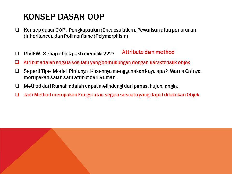 KONSEP DASAR OOP  Konsep dasar OOP : Pengkapsulan (Encapsulation), Pewarisan atau penurunan (Inheritance), dan Polimorfisme (Polymorphism)  RIVIEW :