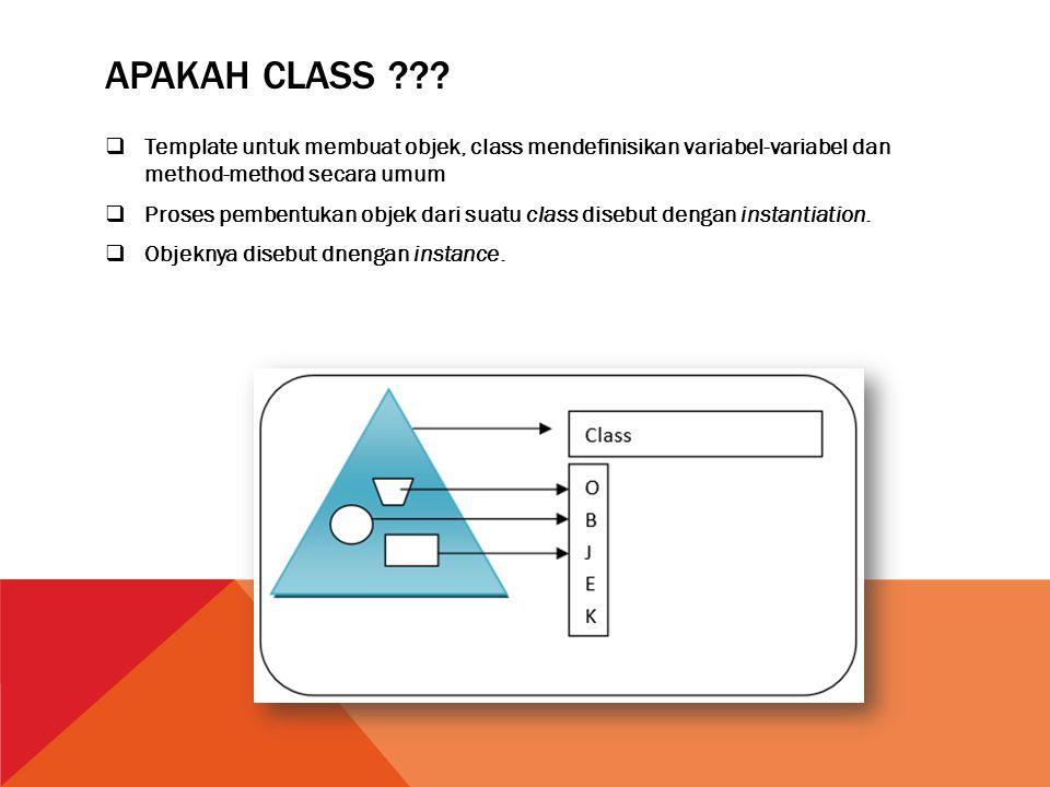 APAKAH CLASS ???  Template untuk membuat objek, class mendefinisikan variabel-variabel dan method-method secara umum  Proses pembentukan objek dari