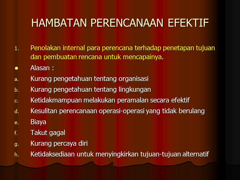 HAMBATAN PERENCANAAN EFEKTIF 1.