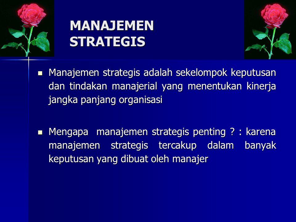MANAJEMEN STRATEGIS Manajemen strategis adalah sekelompok keputusan dan tindakan manajerial yang menentukan kinerja jangka panjang organisasi Manajemen strategis adalah sekelompok keputusan dan tindakan manajerial yang menentukan kinerja jangka panjang organisasi Mengapa manajemen strategis penting .