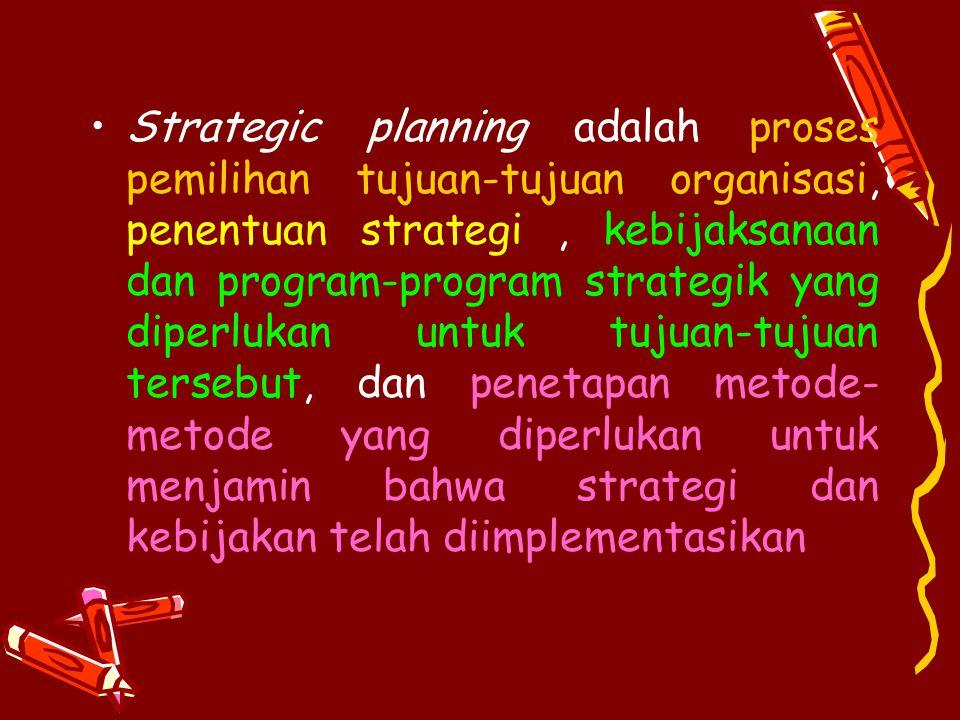 Alasan perencanaan strategik : 1.Perencanaan strategik memberikan kerangka dasar dalam mana semua bentuk-bentuk perencanaan lainnya harus diambil 2.Pemahaman terhadap perencanaan strategik akan mempermudah pemahaman bentuk-bentuk perencanaan lainnya.