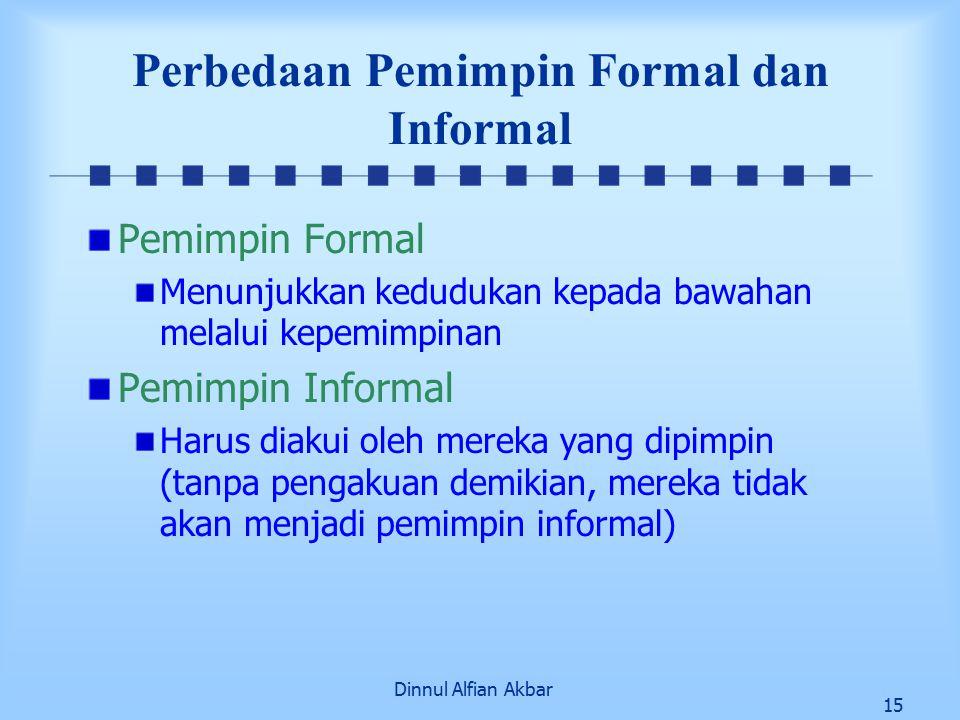 Dinnul Alfian Akbar 15 Perbedaan Pemimpin Formal dan Informal Pemimpin Formal Menunjukkan kedudukan kepada bawahan melalui kepemimpinan Pemimpin Informal Harus diakui oleh mereka yang dipimpin (tanpa pengakuan demikian, mereka tidak akan menjadi pemimpin informal)