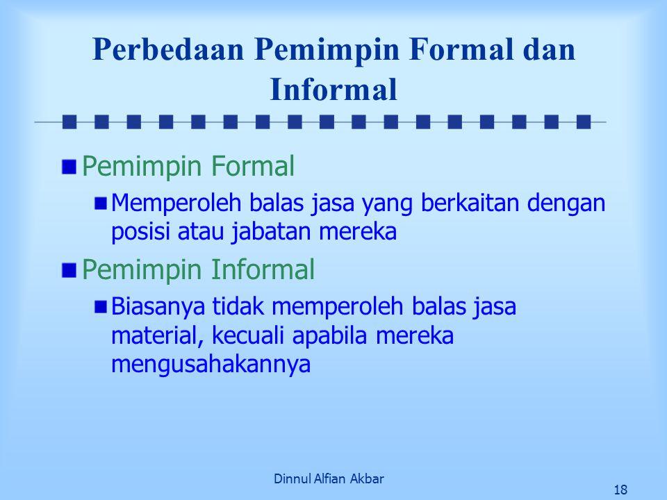 Dinnul Alfian Akbar 18 Perbedaan Pemimpin Formal dan Informal Pemimpin Formal Memperoleh balas jasa yang berkaitan dengan posisi atau jabatan mereka Pemimpin Informal Biasanya tidak memperoleh balas jasa material, kecuali apabila mereka mengusahakannya