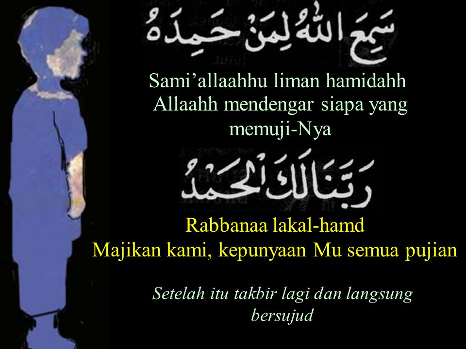 Sami'allaahhu liman hamidahh Allaahh mendengar siapa yang memuji-Nya Rabbanaa lakal-hamd Majikan kami, kepunyaan Mu semua pujian Setelah itu takbir lagi dan langsung bersujud