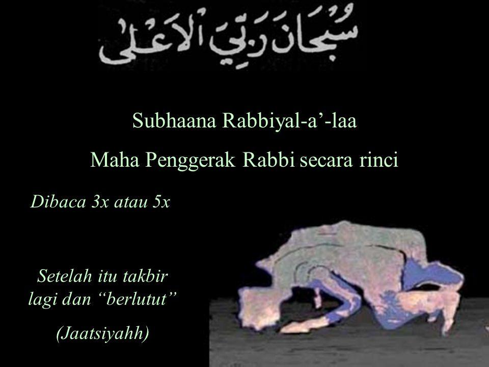 Subhaana Rabbiyal-a'-laa Maha Penggerak Rabbi secara rinci Dibaca 3x atau 5x Setelah itu takbir lagi dan berlutut (Jaatsiyahh)