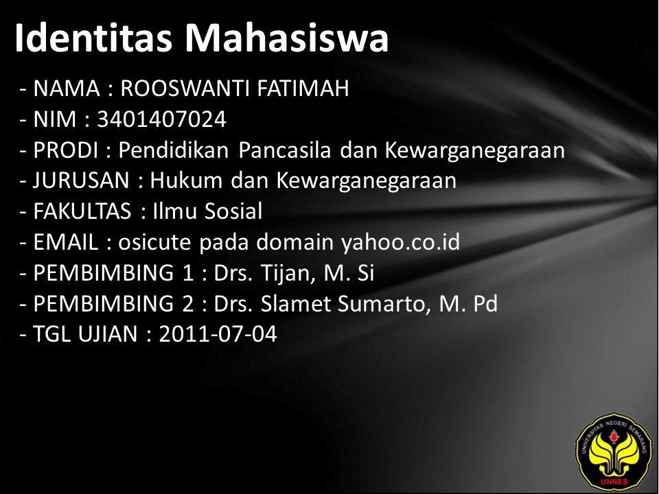 Identitas Mahasiswa - NAMA : ROOSWANTI FATIMAH - NIM : 3401407024 - PRODI : Pendidikan Pancasila dan Kewarganegaraan - JURUSAN : Hukum dan Kewarganega