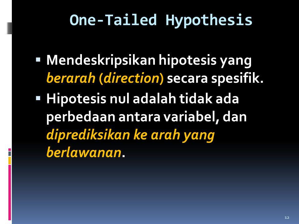 One-Tailed Hypothesis  Mendeskripsikan hipotesis yang berarah (direction) secara spesifik.