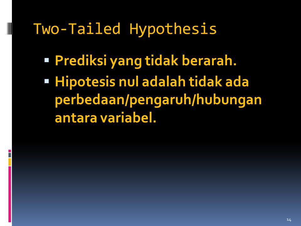 Two-Tailed Hypothesis  Prediksi yang tidak berarah.