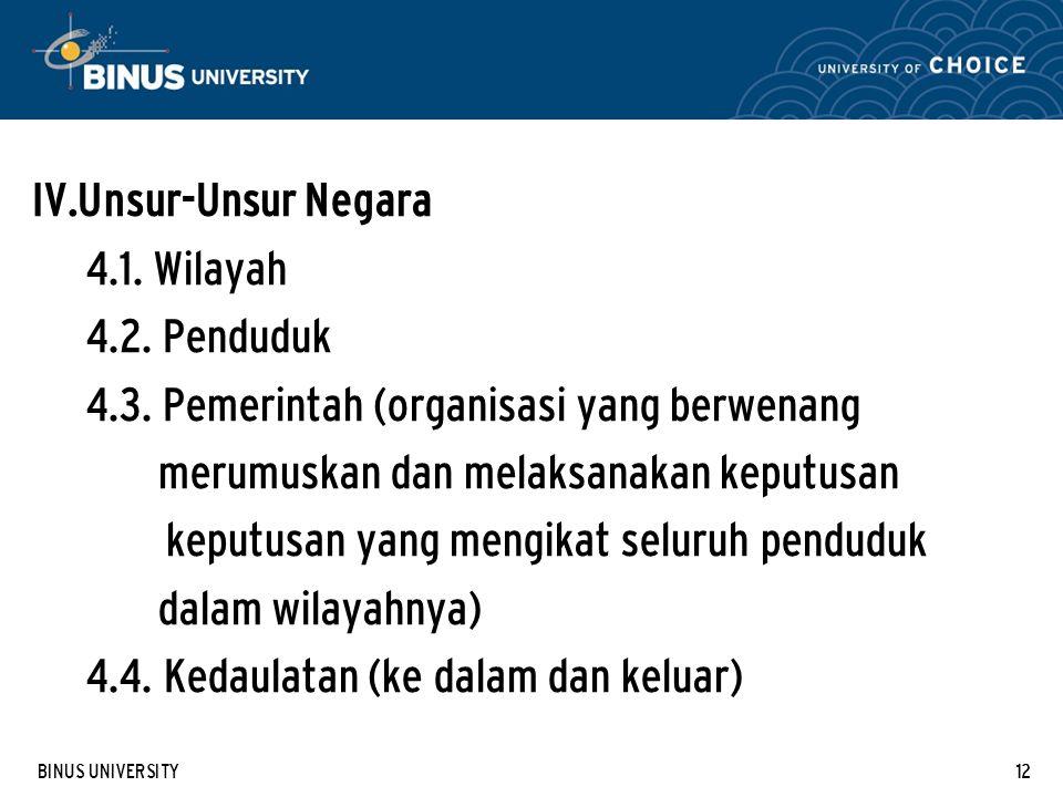 BINUS UNIVERSITY12 IV. Unsur-Unsur Negara 4.1. Wilayah 4.2.