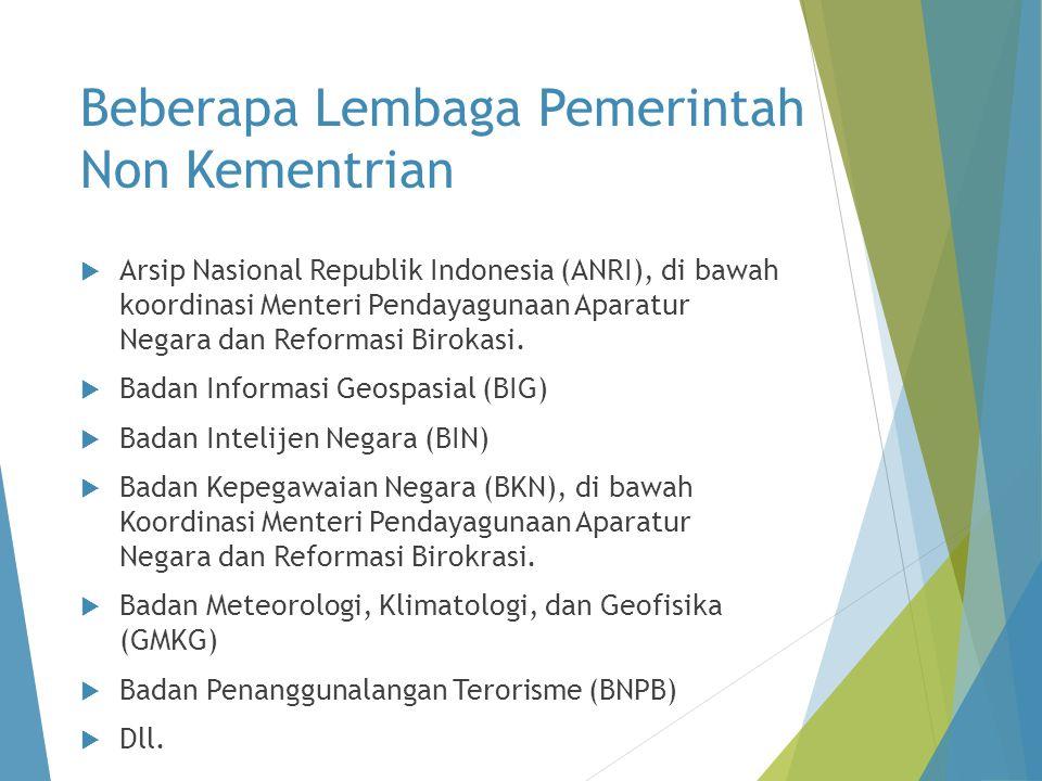 Beberapa Lembaga Pemerintah Non Kementrian  Arsip Nasional Republik Indonesia (ANRI), di bawah koordinasi Menteri Pendayagunaan Aparatur Negara dan Reformasi Birokasi.