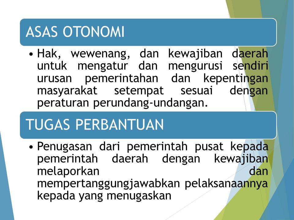 ASAS OTONOMI Hak, wewenang, dan kewajiban daerah untuk mengatur dan mengurusi sendiri urusan pemerintahan dan kepentingan masyarakat setempat sesuai dengan peraturan perundang-undangan.