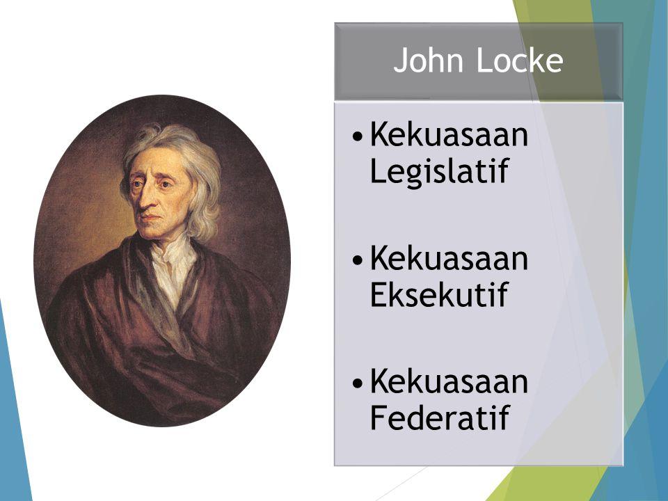 John Locke Kekuasaan Legislatif Kekuasaan Eksekutif Kekuasaan Federatif