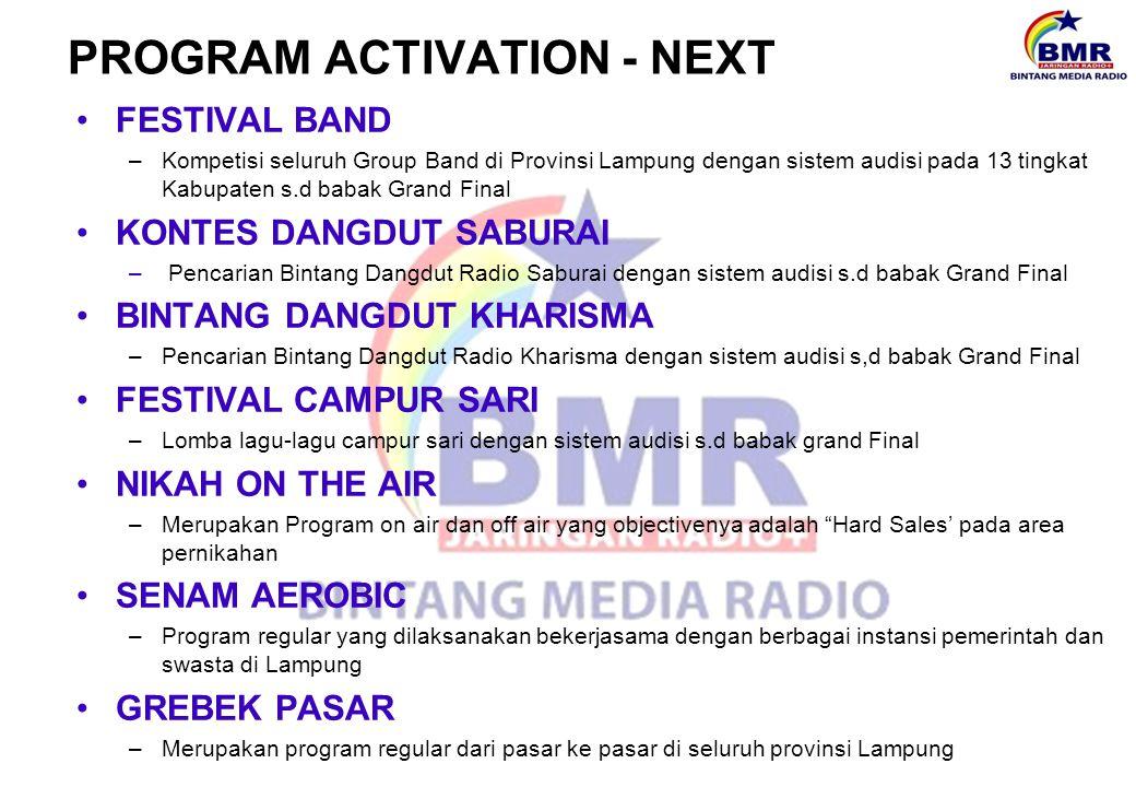 PROGRAM ACTIVATION - NEXT FESTIVAL BAND –Kompetisi seluruh Group Band di Provinsi Lampung dengan sistem audisi pada 13 tingkat Kabupaten s.d babak Gra