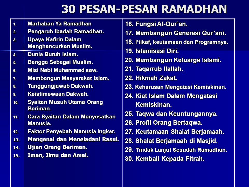 30 PESAN-PESAN RAMADHAN 1. Marhaban Ya Ramadhan 2. Pengaruh Ibadah Ramadhan. 3. Upaya Kafirin Dalam Menghancurkan Muslim. 4. Dunia Butuh Islam. 5. Ban