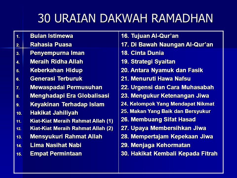 30 PESAN-PESAN RAMADHAN 1.Marhaban Ya Ramadhan 2.